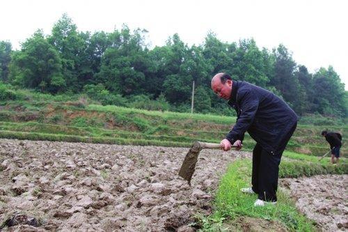 4月21日,黄庆玖在承包的田地旁劳作。图/实习记者巩玮