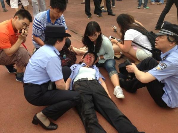 贝克汉姆同济行5人受伤