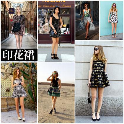 欧美街拍示范:印花连衣裙搭配