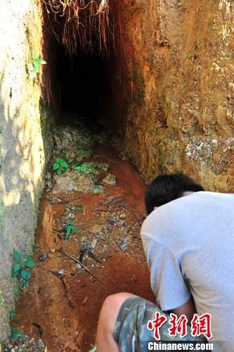 7月5日,承包商王某所承包改良土地现场附近有一处刚挖掘出的巷道。中新社发 骆云飞 摄