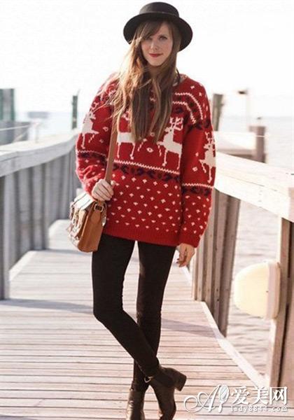 圣诞大爱花毛衣麋鹿VS雪花款款时尚